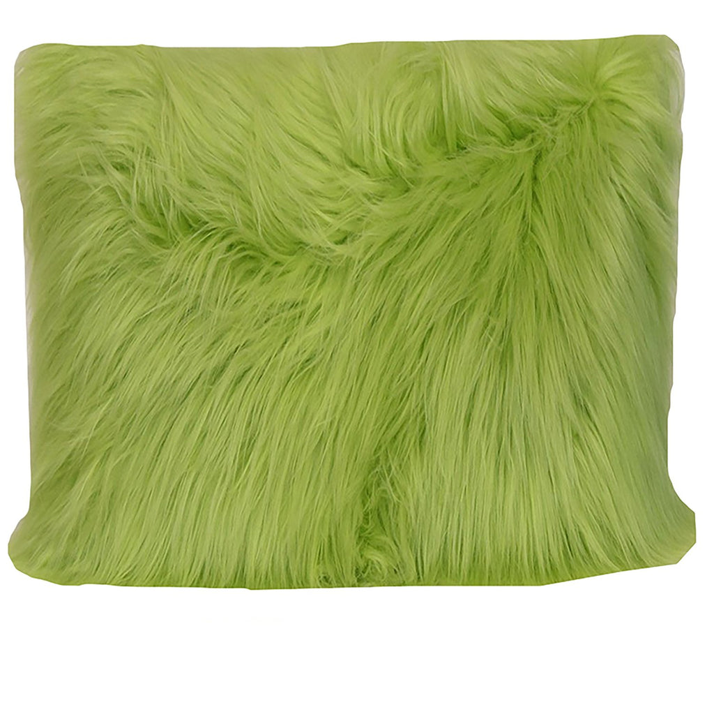 angora fur pillow green
