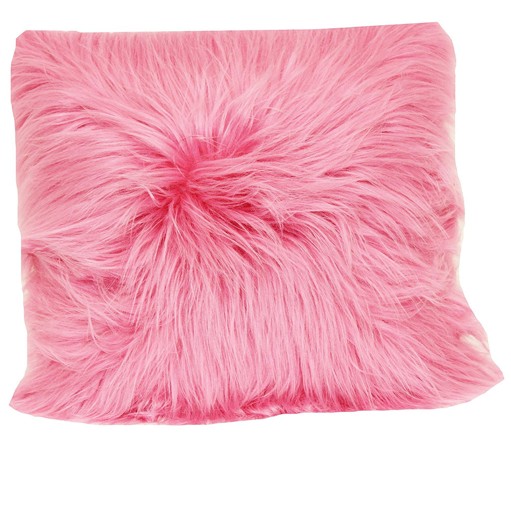 angora fur pillow pink