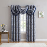 Ava Jacquard Grommet Curtains blue