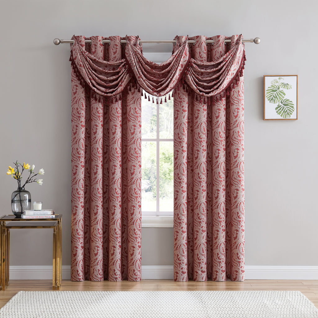 Ava Jacquard Grommet Curtains burgundy