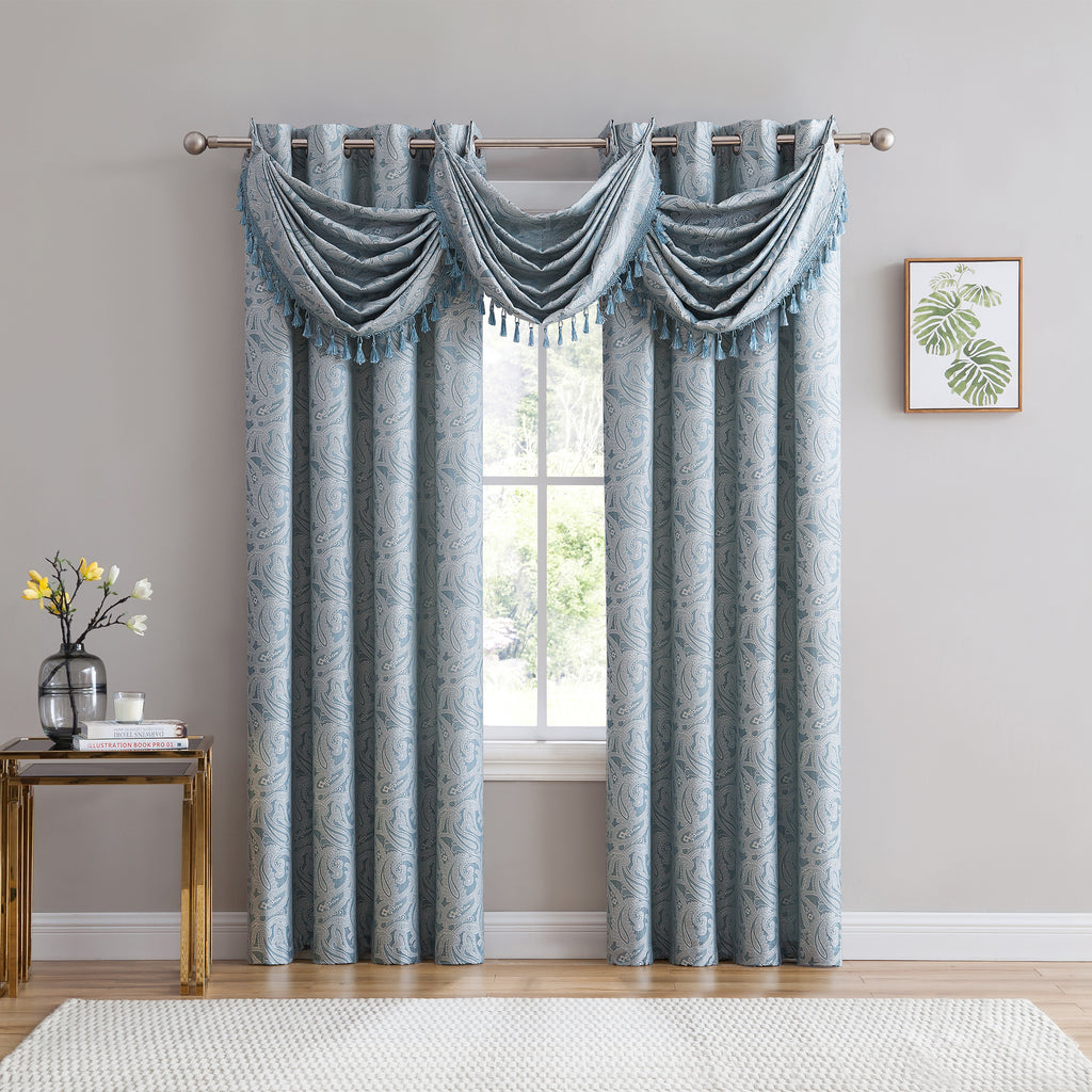 Ava Jacquard Grommet Curtains spa