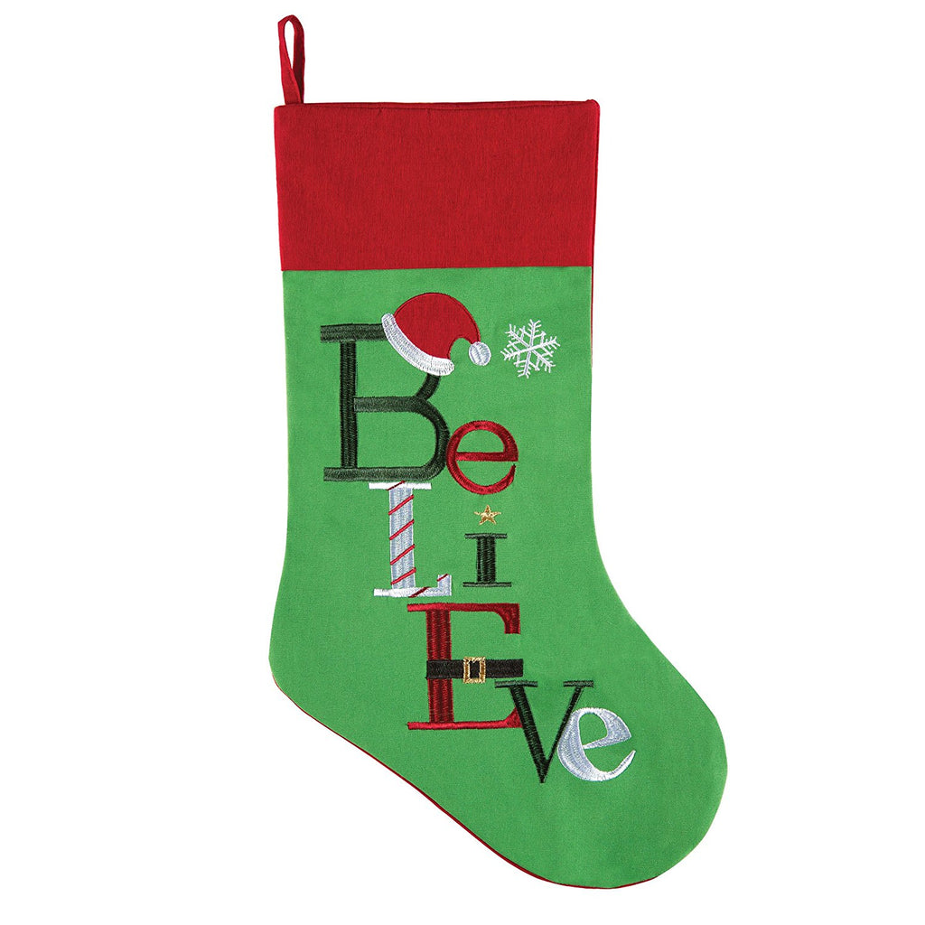 BELIEVE CHRISTMAS STOCKING RUG PILLOW
