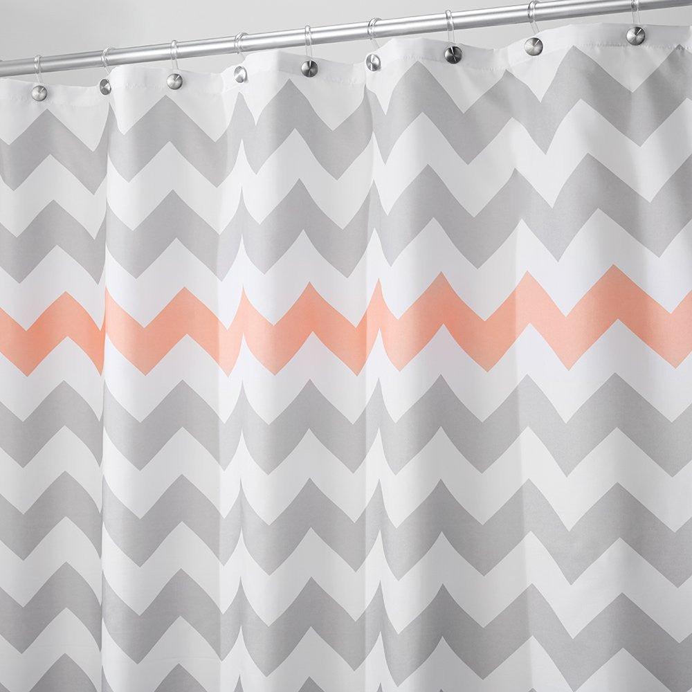 Chevron Shower Curtain Grey Coral