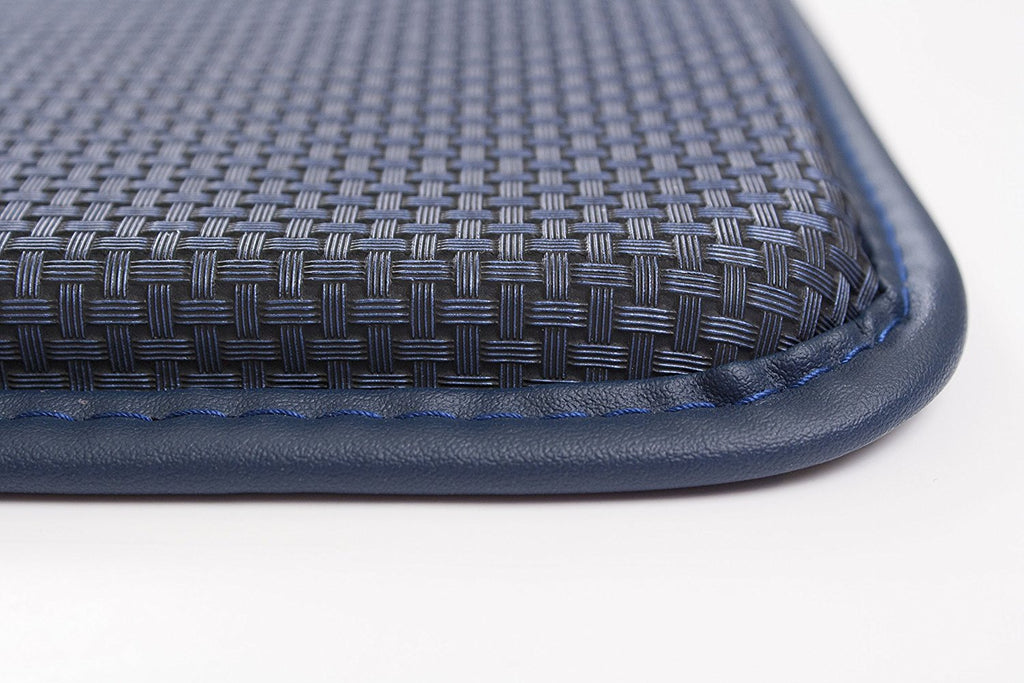 Basketweave Anti Fatigue Cushion Rug blue