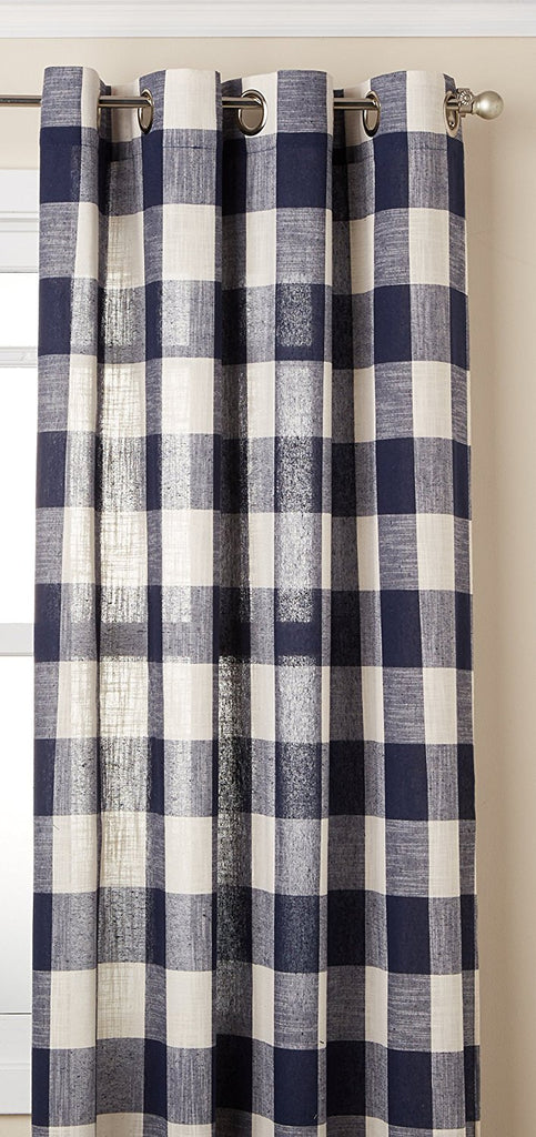 Courtyard Plaid Grommet Curtains navy