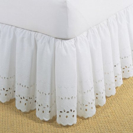 eyelet bed skirt white
