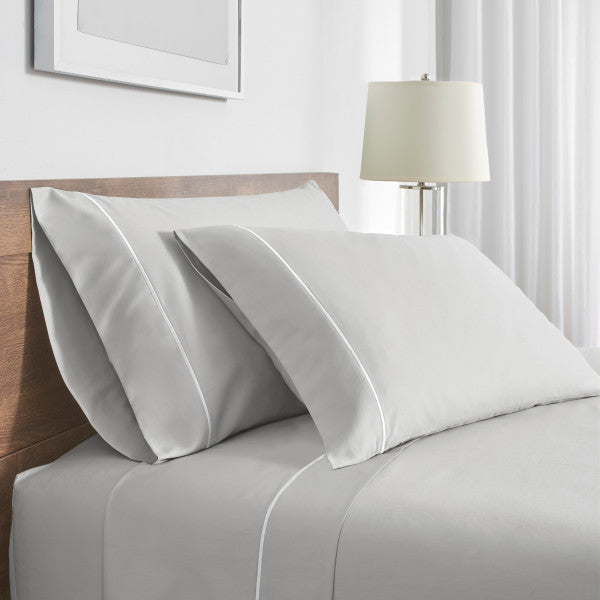 Flatiron Hotel Satin Stitch Sheet Set grey