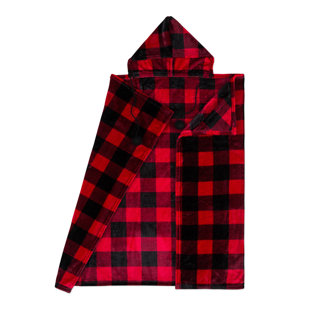 Buffalo Plaid Plush Hooded Blanket red new