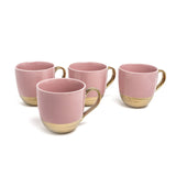 EMBOSSED GOLD S/4 MUGS PINK