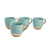 EMBOSSED GOLD S/4 MUGS AQUA