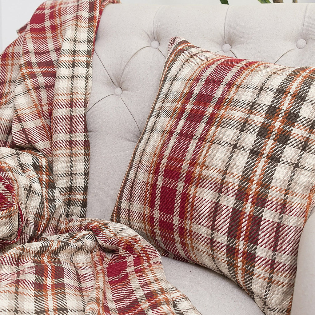 SAMUEL PLAID THROW BLANKET AND PILLOW