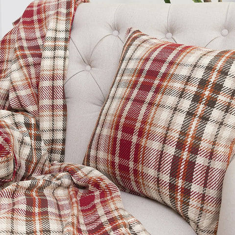 BRONWYN PLAID THROW BLANKET AND PILLOW