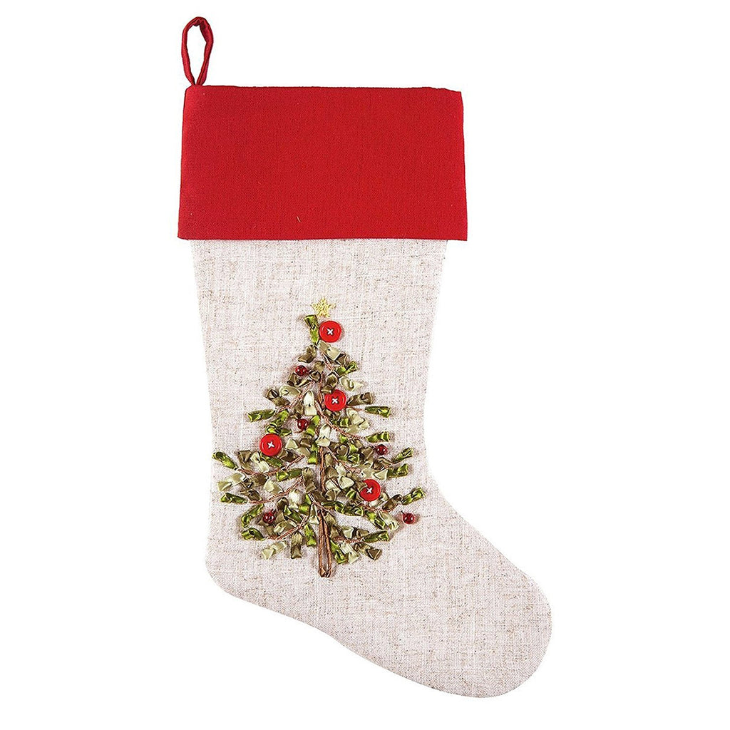CHRISTMAS TREE RIBBON ART STOCKING RUNNER & PILLOW