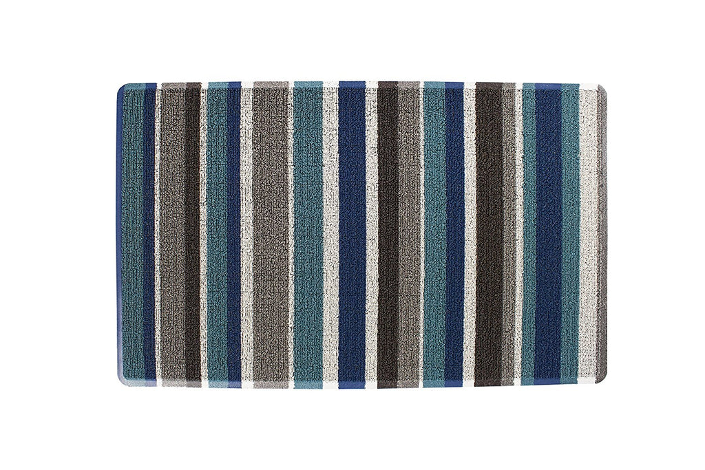 Stripe Tufted indoor Outdoor Floor Mat blue