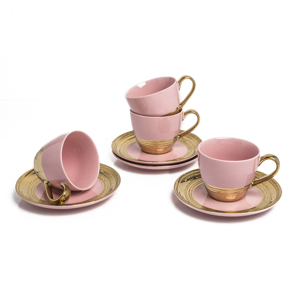 EMBOSSED GOLD S/4 TEA  CUPS PINK