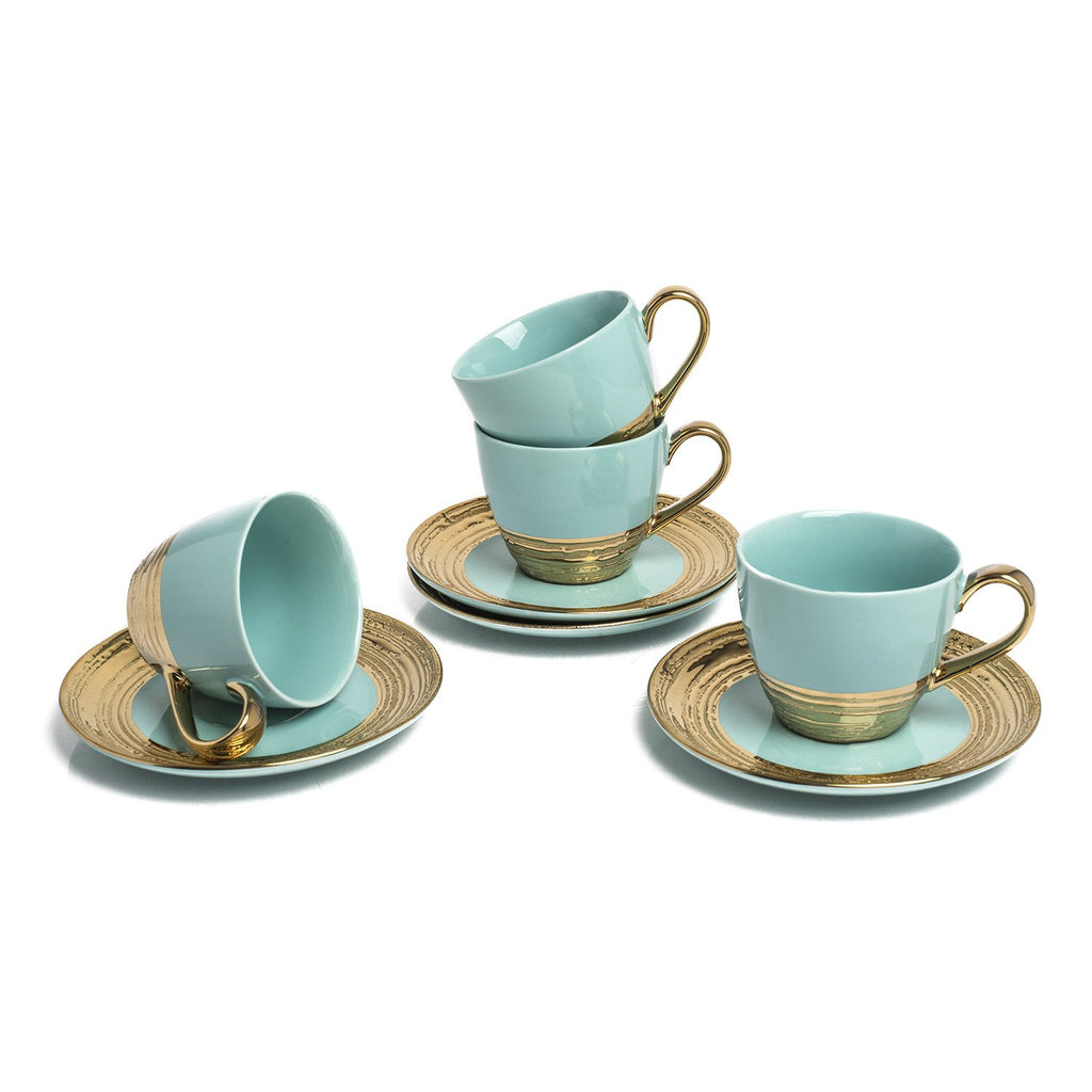 EMBOSSED GOLD S/4 TEA CUPS AQUA