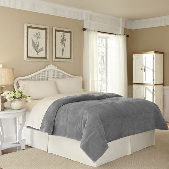 Vellux Plush Lux Blanket grey