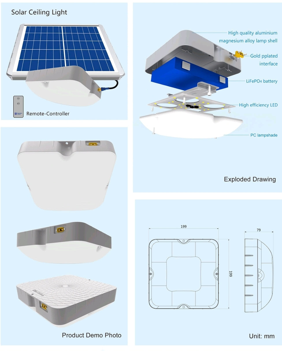 15w solar ceiling lamps