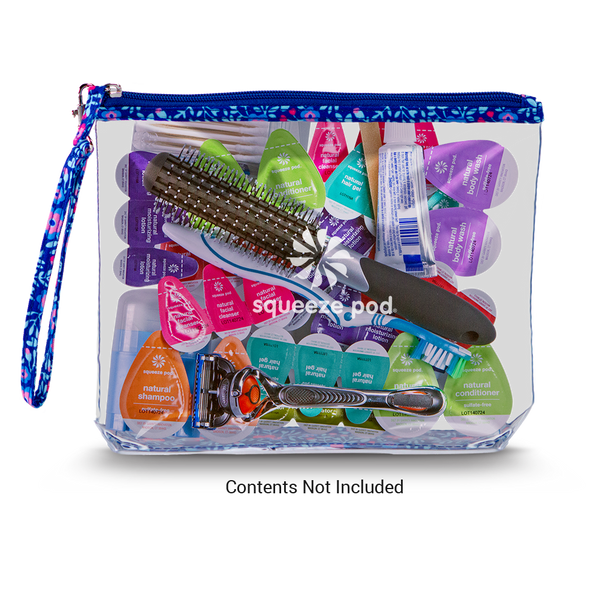 Squeeze Pod Clear Hanging Toiletry Bag Flower Pattern with Toiletries