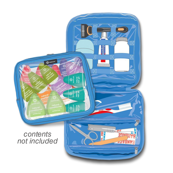 Squeeze Pod Blue Toiletry Organizer Opened
