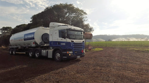 Tas Petroleum delivery tanker providing statewide fuel delivery services.