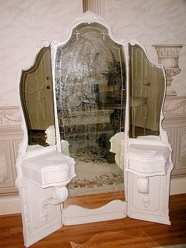French mirrored vanity tri-fold etched carved 19th
