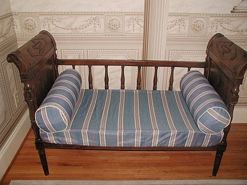 French Directoire day bed early 1800's walnut hand