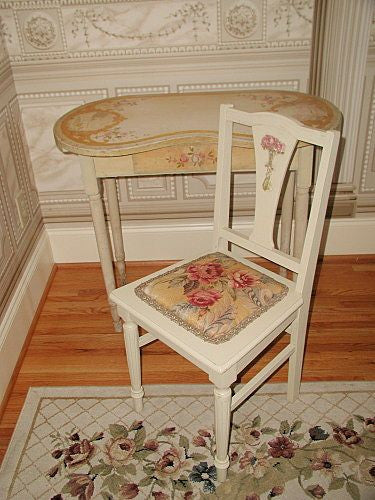Vanity And Chair France C.1900 Quaint Hand Painted