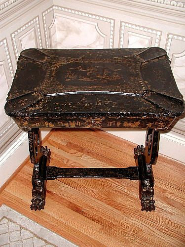 Chinoiserie Table Chest Sewing Complete C.1850