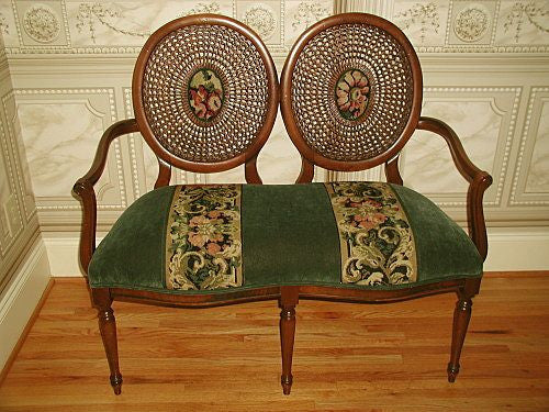 Caned Back Settee Fruitwood Velvet And Tapestry Early 1900's