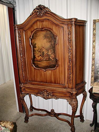 Italian Chest Cabinet China Bookcase Cherub Hand Painted Oil Scene Early 1900's