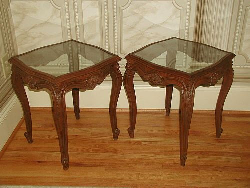 French Walnut Tables Pair Glass Tops Hand Carved 19th Century