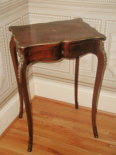 Rosewood Bronze Vanity Table Desk Inlaid Mounts France 19th Century