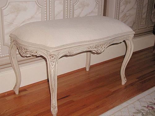 French Stool Bench 19th C Hand Carved Louis XV New White Linen