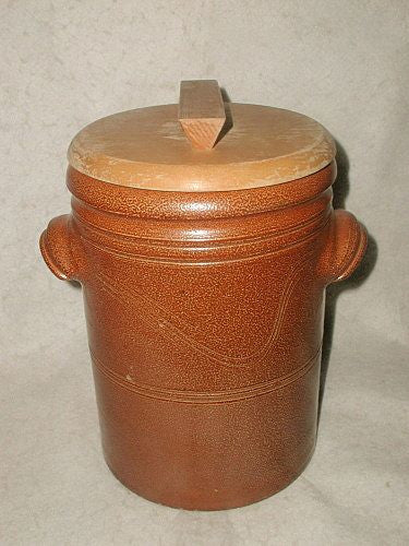 Salt Glazed Crock For Pickles Signed W/Lid England 19th Century