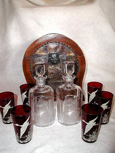 Masculine English Tantalus C.1880 With Decanters Glasses