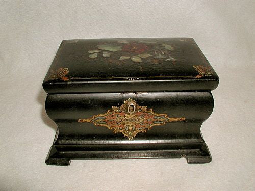 English Tea Caddy Chest 19th C Papier Mache Inlaid Mother Pearl Gorgeous