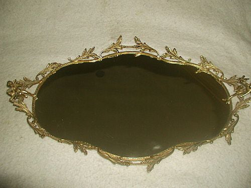 Brass vanity tray with cherubs France 19th century