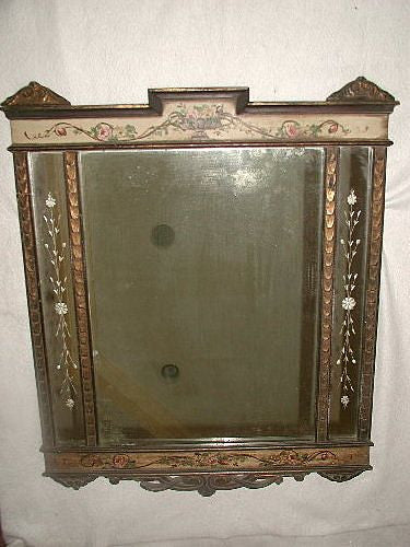 French Etched Mirror C.1875-85 Hand Painted Tole