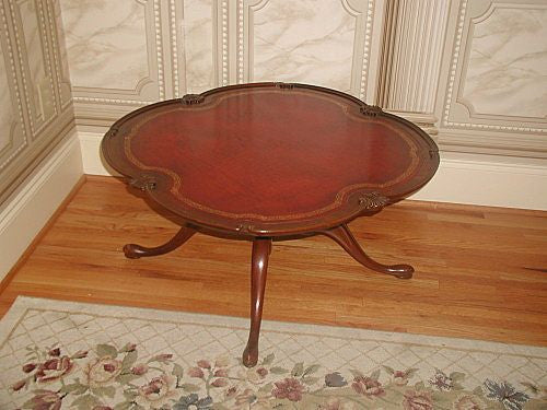 Mahogany leather table coffee gold tooling early 1900's