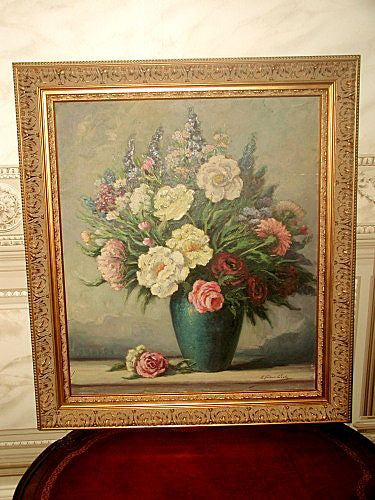 Signed original oil still life painting early 1900's new ornate frame