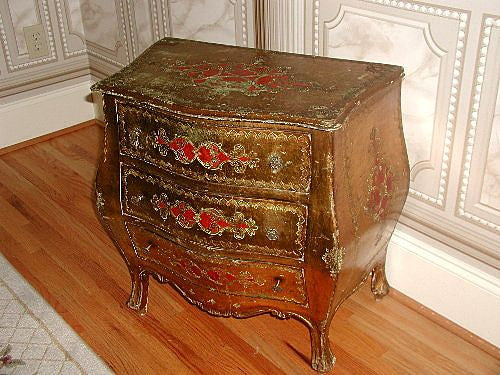 Florentine Bombe Chest 19th Century Italy Gorgeous Hand Painting