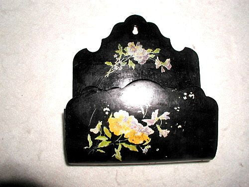 French letter holder papier mache 19th century hand made painted
