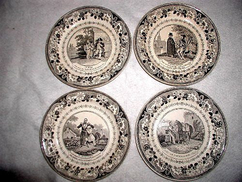 Signed Military Plates French Set 19th C Montereaul Transferware