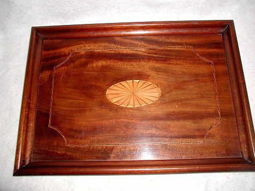English Inlaid Tray Large 19th C Mahogany Satinwood