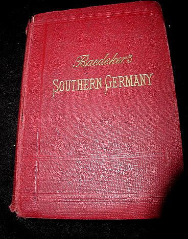 Leather German Guide For Travelers C.1907 Baedeker's Wurtemberg & Bavaria