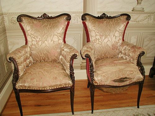 Mahogany Bergere Chairs France Hand Carved Mid 19th Century
