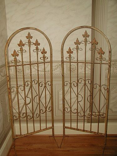 French Footed Gates 19th Century Arched Fleur de Lis Design