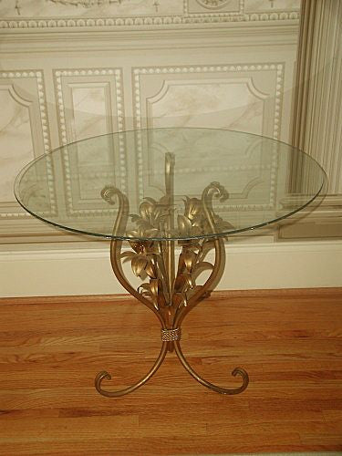 Florentine gilt table early 1900's glass removable top