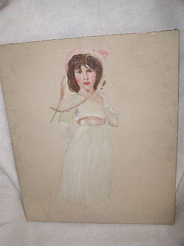 French portrait painting early 1900's oil on canvas